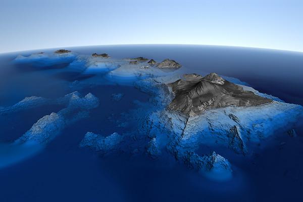 Perspektivische Grafik der Hawai-Inseln