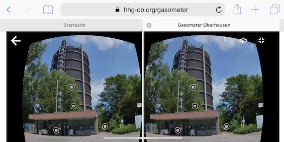 Der Blick durch eine 3D-Brille zeigt den Gasometer und die möglichen Punkte der Interaktion.